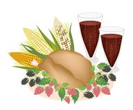 Delicious Roast Turkey, Sweetcorn, Berry Fruit and Juice Royalty Free Stock Photography