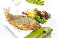 Delicious roasted carp Stock Image