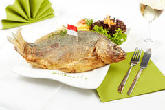 Delicious roasted carp Stock Image