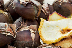 Delicious roasted chestnuts and dried sliced apples Royalty Free Stock Images