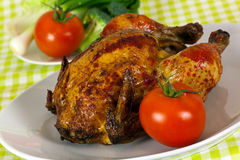 Delicious roasted chicken - delicate art of Portug. Uese,with crust of ketchup Royalty Free Stock Photo