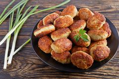 Roasted hot meat cutlets on plate Stock Photos