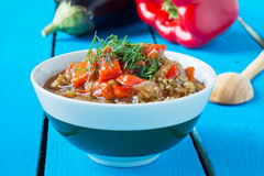 Delicious roasted red pepper and eggplant dish Stock Photos