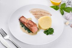 Delicious roasted salmon fillets with rice. royalty free stock images