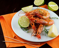 Delicious Roasted Shrimps Royalty Free Stock Photos