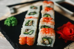 Delicious roll set with shrimps. Japanese sushi. Stock Photography