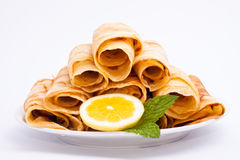 Delicious rolled crepes stock image