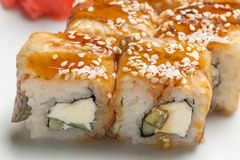 Delicious rolls with eel Stock Photography