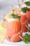 Delicious rolls with salmon and cream cheese vertical Royalty Free Stock Images