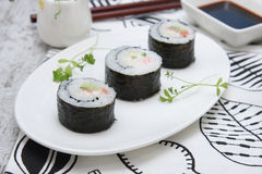 Delicious rolls with smoked salmon Stock Images
