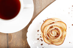 Delicious rose shaped puff pastry cake with apples Stock Photo