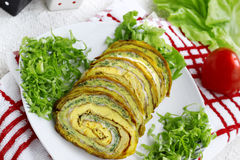 Delicious roulade with mix of vegetables. Delicious roulade with cheese and mix of vegetables Royalty Free Stock Photos