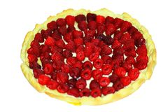 Delicious round cake with raspberry royalty free stock photo