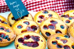 Delicious round raspberry tarts Stock Photography