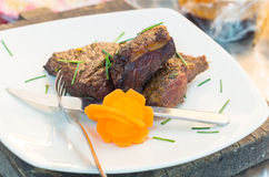 Delicious rump steak cooked to perfection and Royalty Free Stock Photo