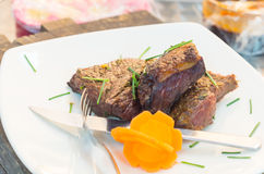 Delicious rump steak cooked to perfection and Stock Photography