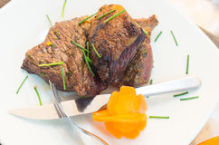Delicious rump steak cooked to perfection and Royalty Free Stock Images