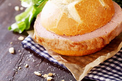 Delicious rustic lunch of meat loaf sandwich Royalty Free Stock Photography