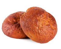 Delicious rye buns isolated on white Royalty Free Stock Photography