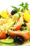 Delicious salad. With vegetables, cheese and crackers Stock Image