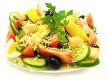 Delicious salad. With vegetable, cheese and crackers Royalty Free Stock Photo