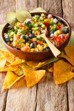 delicious salad of corn, blueberries, jalapeno pepper, bell pepper and onions is served with nachos chips close-up. vertical stock image