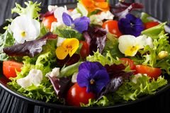Delicious salad of edible flowers with lettuce, tomatoes and feta close-up. horizontal. Delicious salad of edible flowers with lettuce, tomatoes and feta close royalty free stock images