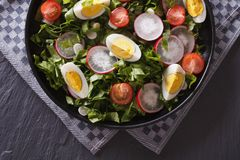 Delicious salad with eggs, radishes and sorrel top view. Delicious salad with eggs, radishes and sorrel close up on the table. horizontal view from above stock photo