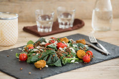 Delicious salad with falafels, lentils and baked tomato Stock Images
