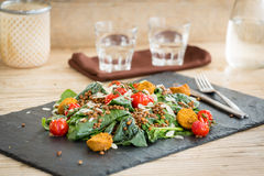 Delicious salad with falafels, lentils and baked tomato Stock Photos