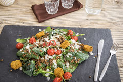 Delicious salad with falafels, lentils and baked tomato stock image