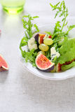 Delicious salad with figs and blue cheese Royalty Free Stock Photos