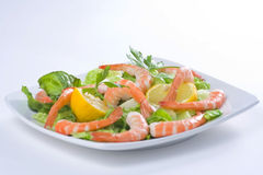 Delicious salad of fresh prawns Royalty Free Stock Image