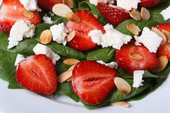 Delicious salad of fresh strawberries, spinach, goat cheese Stock Images