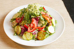 Delicious Salad with Fresh Vegetables. And onion sprouts on the top on white plate food photography Royalty Free Stock Photos