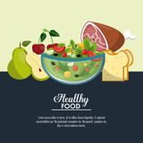 Delicious salad healthy food. Banner with information vector illustration graphic design Royalty Free Stock Photo
