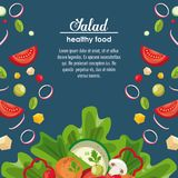 Delicious salad healthy food. Banner with information vector illustration graphic design Stock Images