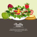 Delicious salad healthy food. Banner with information vector illustration graphic design Stock Photos