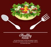 Delicious salad healthy food. Banner with information vector illustration graphic design Stock Photo
