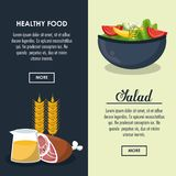 Delicious salad healthy food. Banner with information vector illustration graphic design Royalty Free Stock Photography