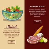 Delicious salad healthy food. Banner with information vector illustration graphic design Royalty Free Stock Photos