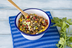 Delicious salad of lentils Stock Images