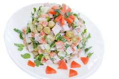 A delicious salad with mayonnaise isolated Stock Photo