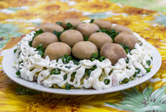 Delicious salad Mushroom glade (salad with champignon and green onion) Royalty Free Stock Photo