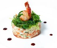Delicious salad with seaweed and shrimp Royalty Free Stock Image