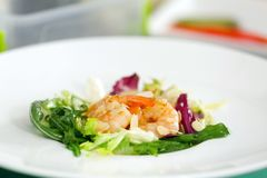 Delicious salad with shrimps in plate Royalty Free Stock Photo