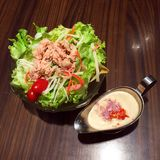 Delicious salad with tuna on a bowl  Stock Images