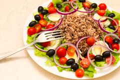 Delicious salad with tuna, tomatoes, eggs, olives Stock Photo