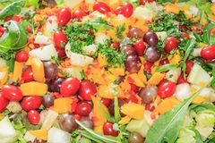 Delicious salad of vegetables and fruits. Lettuce, tomato, parsley, arugula, grape, mango, melon stock photos
