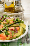 Delicious salad wit green asparagus, smoked salmon and potatoes. Royalty Free Stock Photography